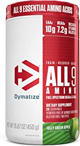 Dymatize All9 Amino, 7.2g of BCAAs, 10g of Full Spectrum Essential Amino Acids Per Serving for Recovery and Optimal Muscle Protein Synthesis, Jolly Green Apple, 30 Servings