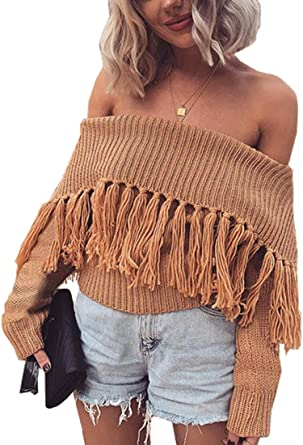 b44f75d8293be7 Angashion Women s Sexy Off Shoulder Long Sleeve Slim Fit Fringe Knit Crop  Top Sweater Camel L