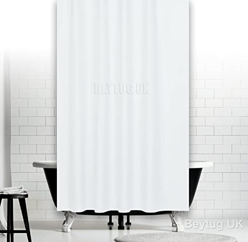 Plain White Fabric Shower Curtain, Narrow Width 120CM Wide
