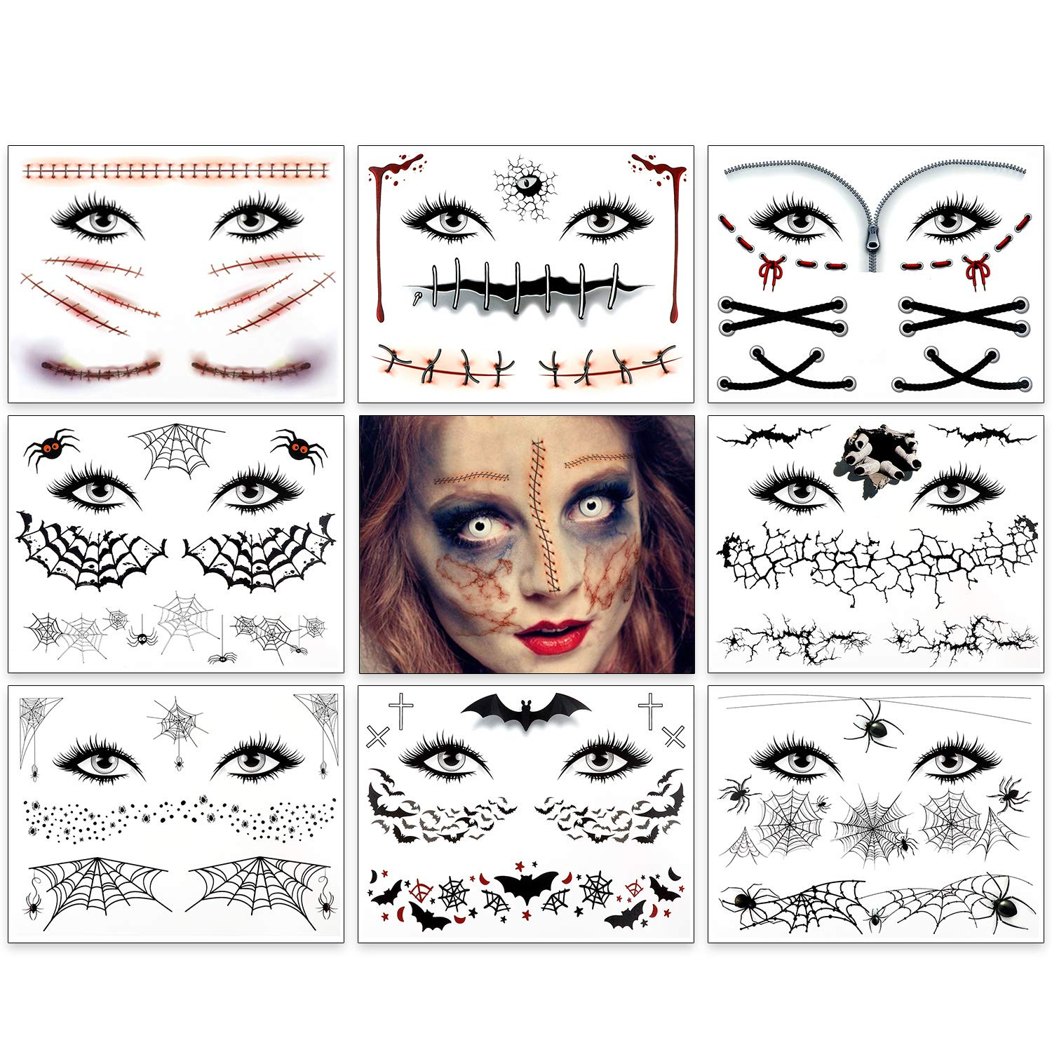9 Pack Halloween Tattoos Crawling Spider Bat Tattoos Fake Scars Spider Net Spider Web Tattoos Halloween Face Temporary Tattoos Stickers for Women Men Halloween Costume Party Make-Up Favor Props