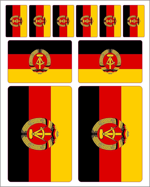 Generisch 10 Stück Flaggen Aufkleber Ddr Set Sticker Autoaufkleber Auto