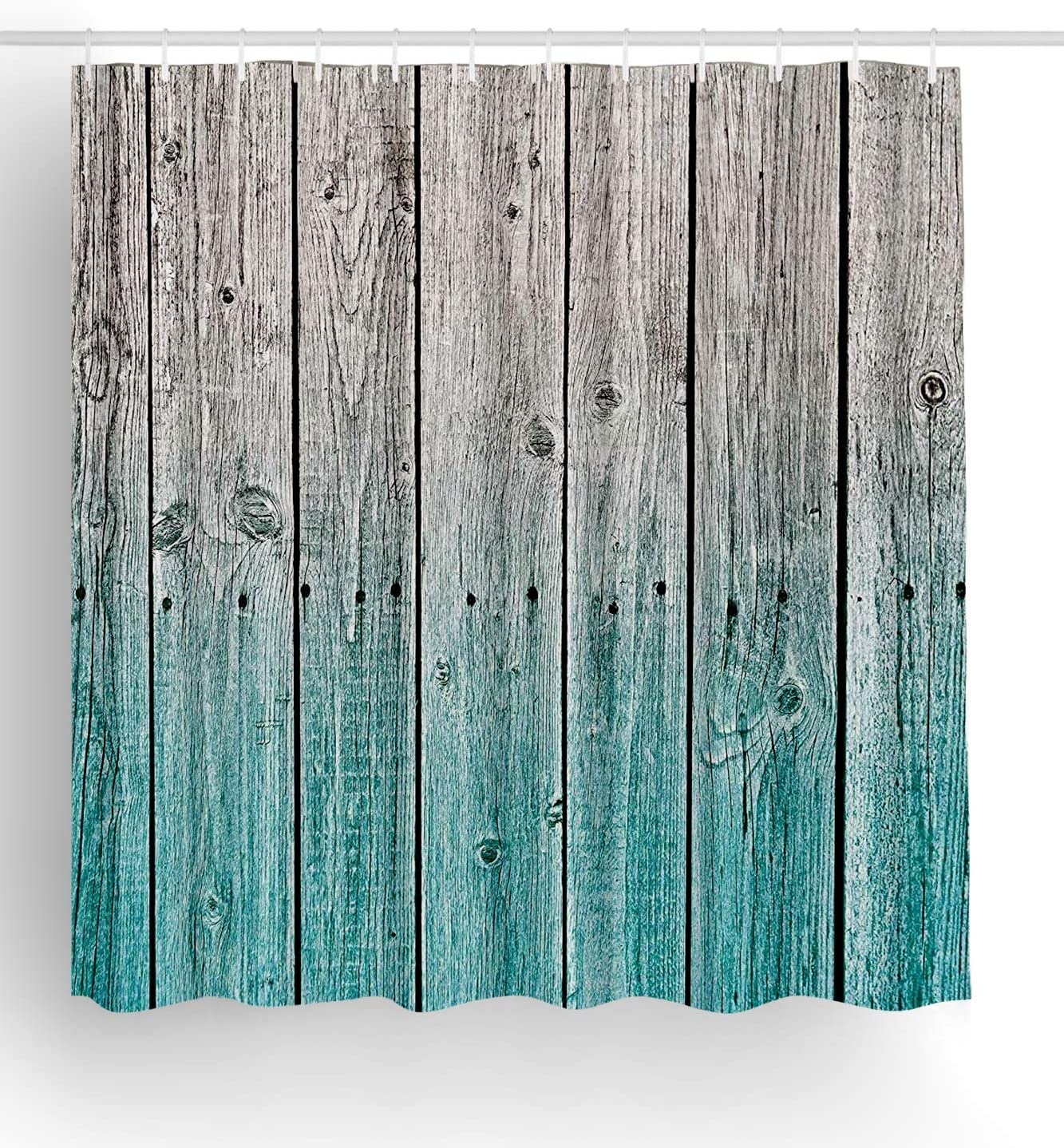 Jagfhhs Rustic Wood Panels Background with Digital Tones Effect Country House Teal Grey Long Shower Curtains with Hooks Home Dorm Hotel Bath Decor