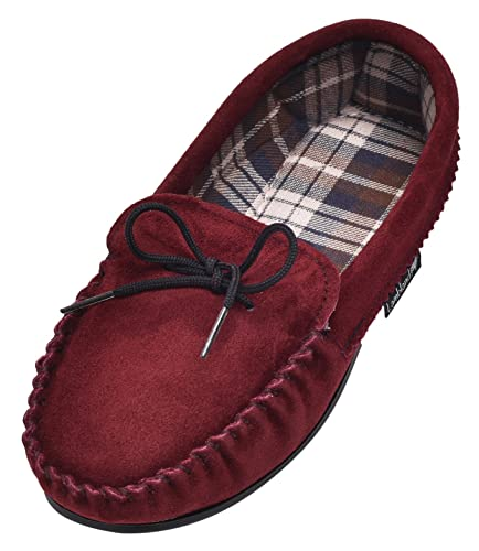Lambland Ladies British Handmade Moccasin Slippers with Cotton Lining in Burgundy / Size UK3