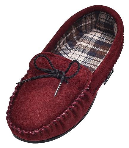 Ladies Genuine Leather Moccasin Slippers Lambswool Hard Sole Black Brown UK5 UK6