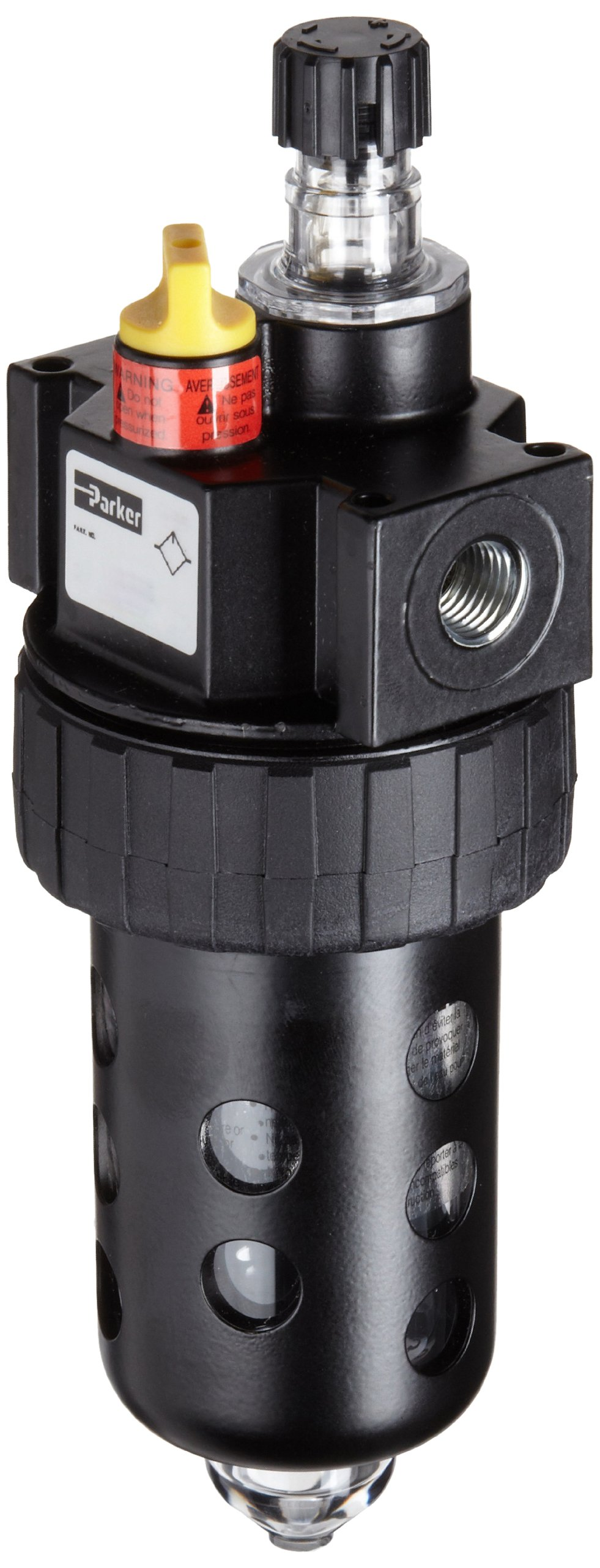 Parker 16L34BE Lubricator, Metal Bowl with Sight Gauge, Manual Drain, 90 scfm, 1/2'' NPT by Parker