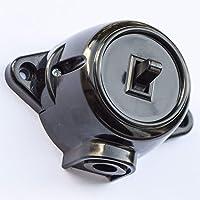 Schakelaar Schema 6 Deviatorschakelaar opbouw draai-uit/wissel-schakelaar, 10 A/250 V, IP20 zwart retro bakeliet look…