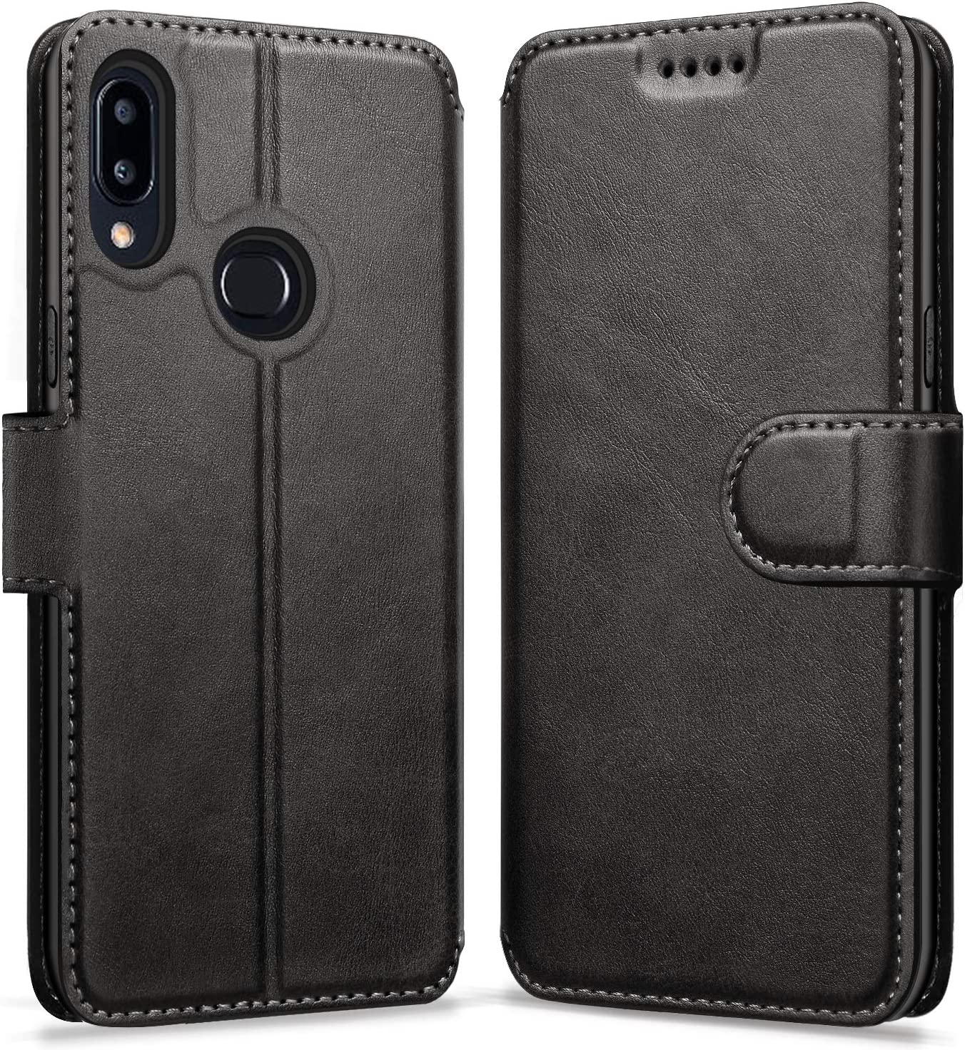 ykooe Flip Case for Samsung Galaxy A10s, PU Leather Case with Card Slots Protective Cover for Samsung Galaxy A10s, Black