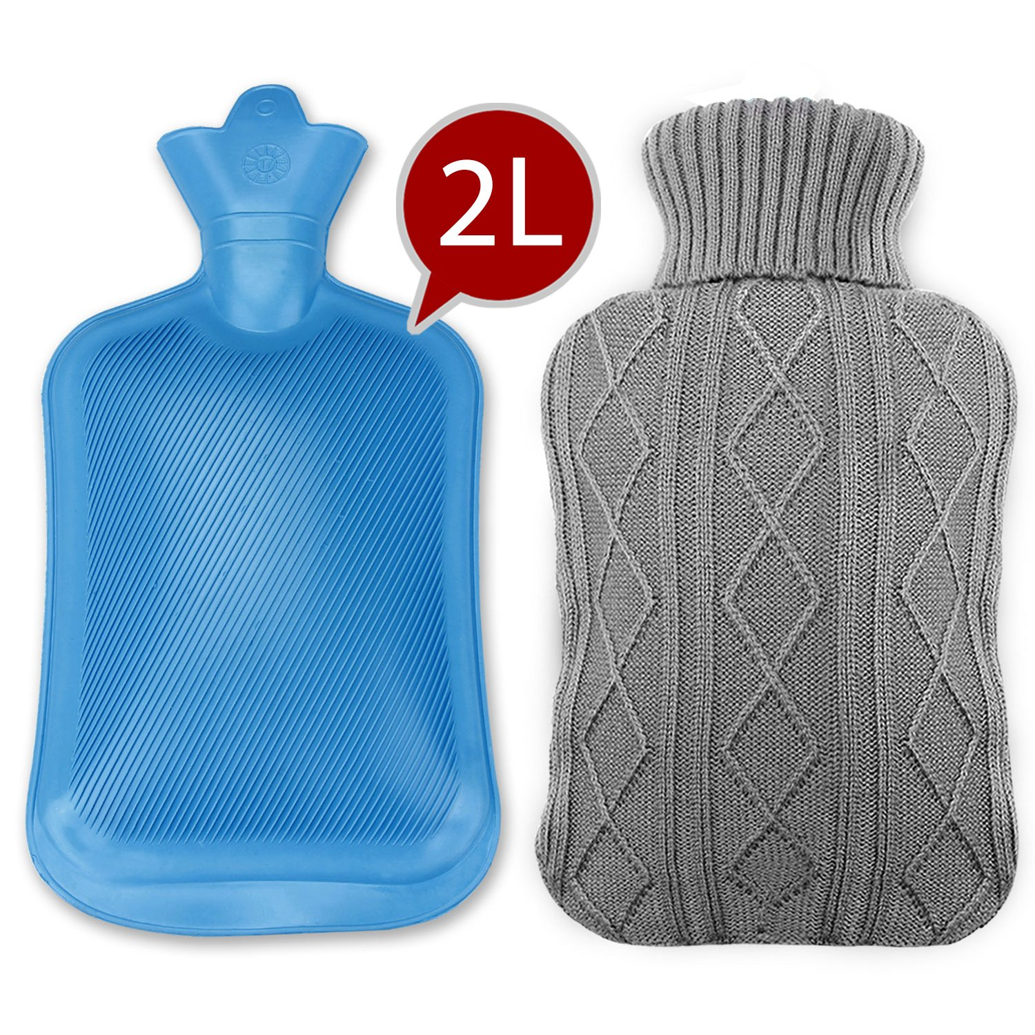 Classic Rubber Hot Water Bottle, Ubegood Hot Water Bottle with Knit Cover Comfort Knitted Bottle 2 Liter, Blue/Gray