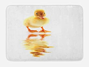 Lunarable Duckies Bath Mat, Yellow Baby Duck Looking at Its Reflection Poultry Themed Image Flightless Bird, Plush Bathroom Decor Mat with Non Slip Backing, 29.5 W X 17.5 W Inches, Yellow Orange