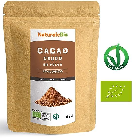 Cacao crudo Ecológico en Polvo 1kg | Organic Raw Cacao Powder | 100% Bio, Natural y Puro | Producido en Perú a partir de la planta Theobroma Cacao | ...