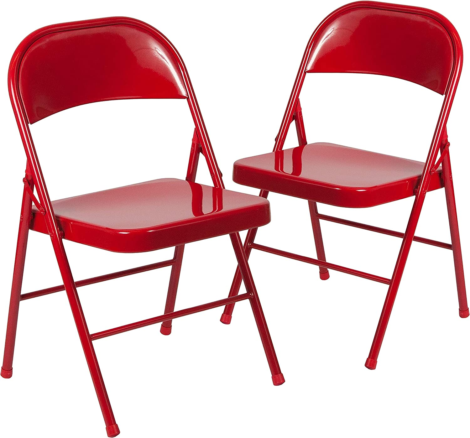 Flash Furniture 2 Pk. HERCULES Series Double Braced Red Metal Folding Chair