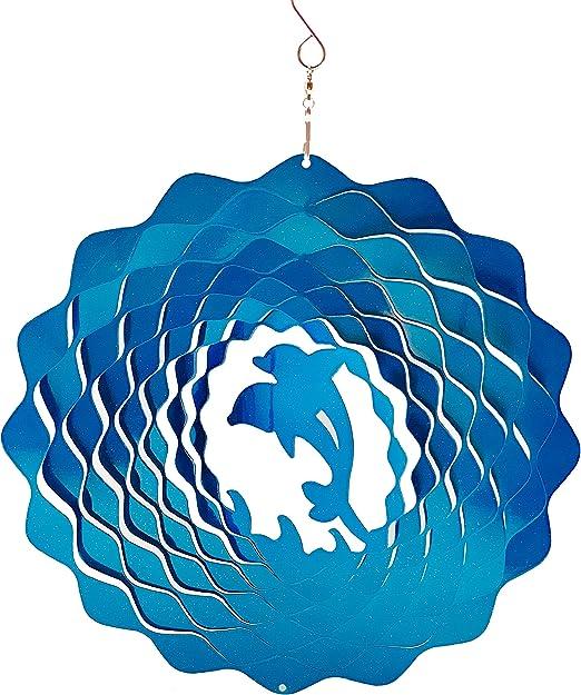 Dundee Deco W1010 - Spinner de Viento en Caja de Regalo, para Interior y Exterior, decoración de jardín, Mandala, Delfines, Azul, 12 Pulgadas, Idea Hombres y Mujeres, Recuerdo, Regalo: Amazon.es: Jardín