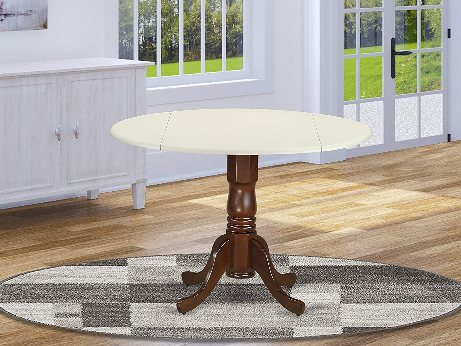 "East West Furniture DLT-LMA-TP Dublin Round Table with two 9"" Drop Leaves in Linen and Mahogany Finish"