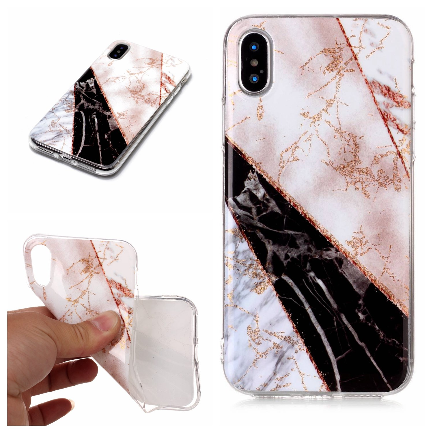 Mistars Silicone Case for iPhone X/ iPhone 10, Luxury Bling Shining Glitter Marble Pattern Design Case Ultra Thin Anti-Scratch Shockproof Protective TPU Soft Gel Case Rubber Skin Cover Bumper for Apple iPhone X / 10 (5.8 inch) (White and Black)