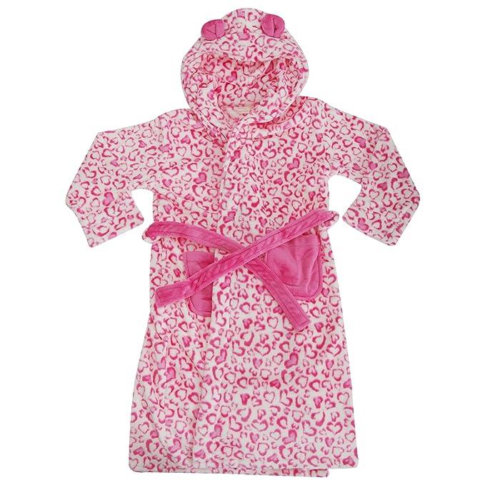 Bata de estar por casa de polar con capucha y estampado de leopardo para niñas (