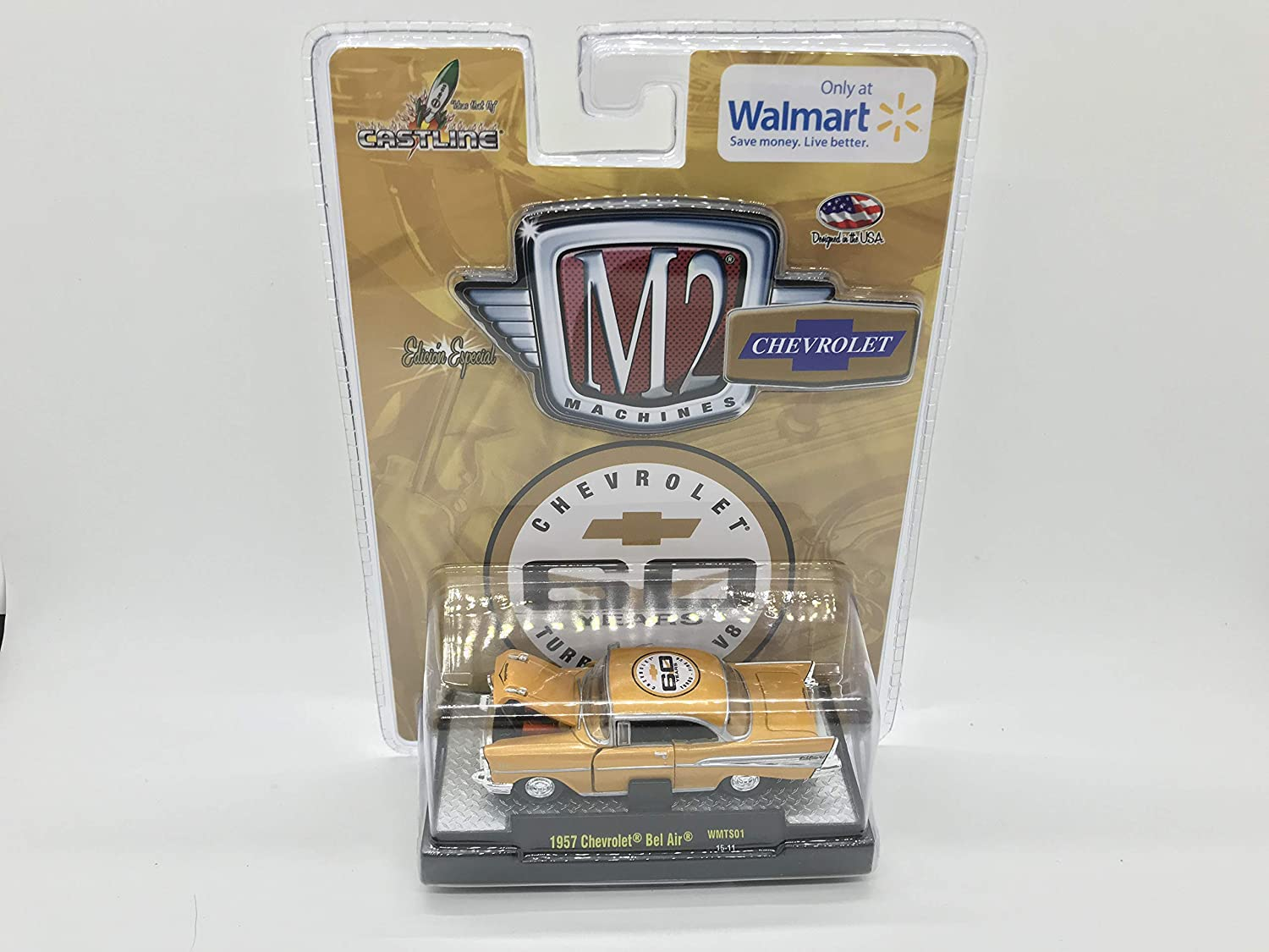 M2 Machines by M2 Collectible Chevy 60 Years Turbo Fire V8 1957 Bel Air WMTS01 15-11 Yellow Details Like NO Other!