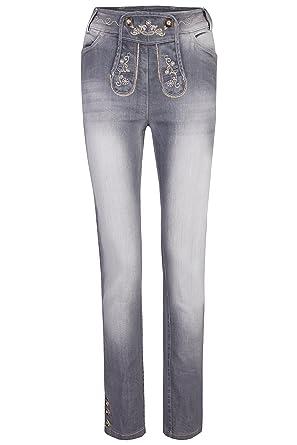Damen Stretch Trachtenjeans Johanna (Gr. 34-50) lange Jeans mit  Lederhosenoptik in grau und blau  Amazon.de  Bekleidung 2232772313