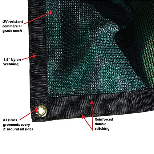 Xtarps – 10 ft. x 12 ft. – 7 OZ Premium 90 Shade Cloth, Shade Sail, Sun Shade Green Color