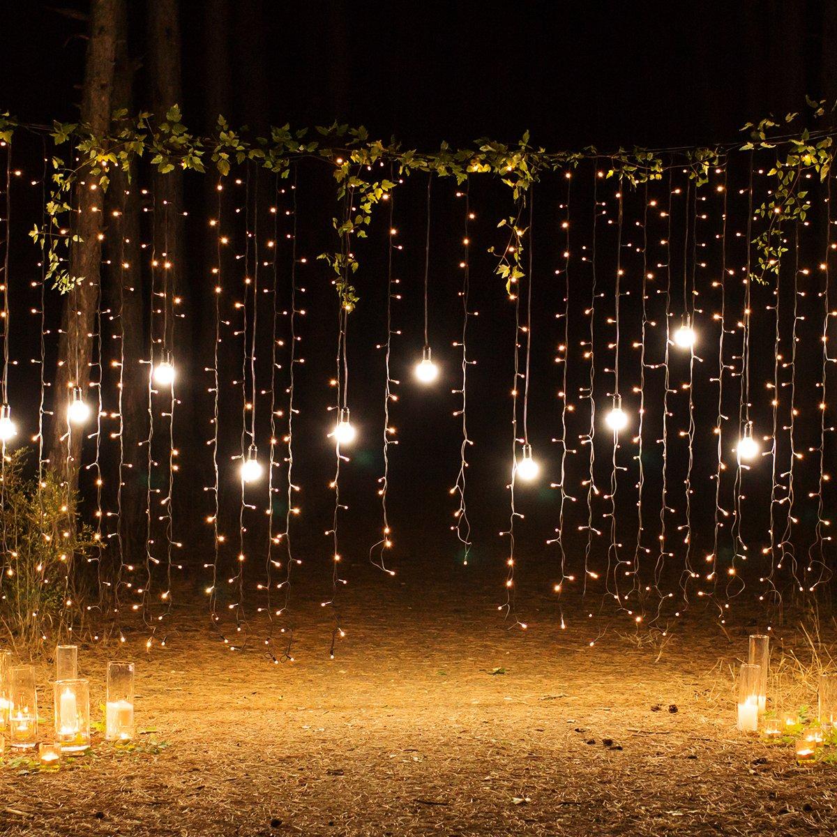 Sunix Catene Luminose LED 4.5M LED Bianco Caldo Stringa LED con Adattatore, Striscia Luce Filo di Rame per Uso Interno e Esterno per Decorazioni Festive e Natale [Classe di efficienza energetica A+]