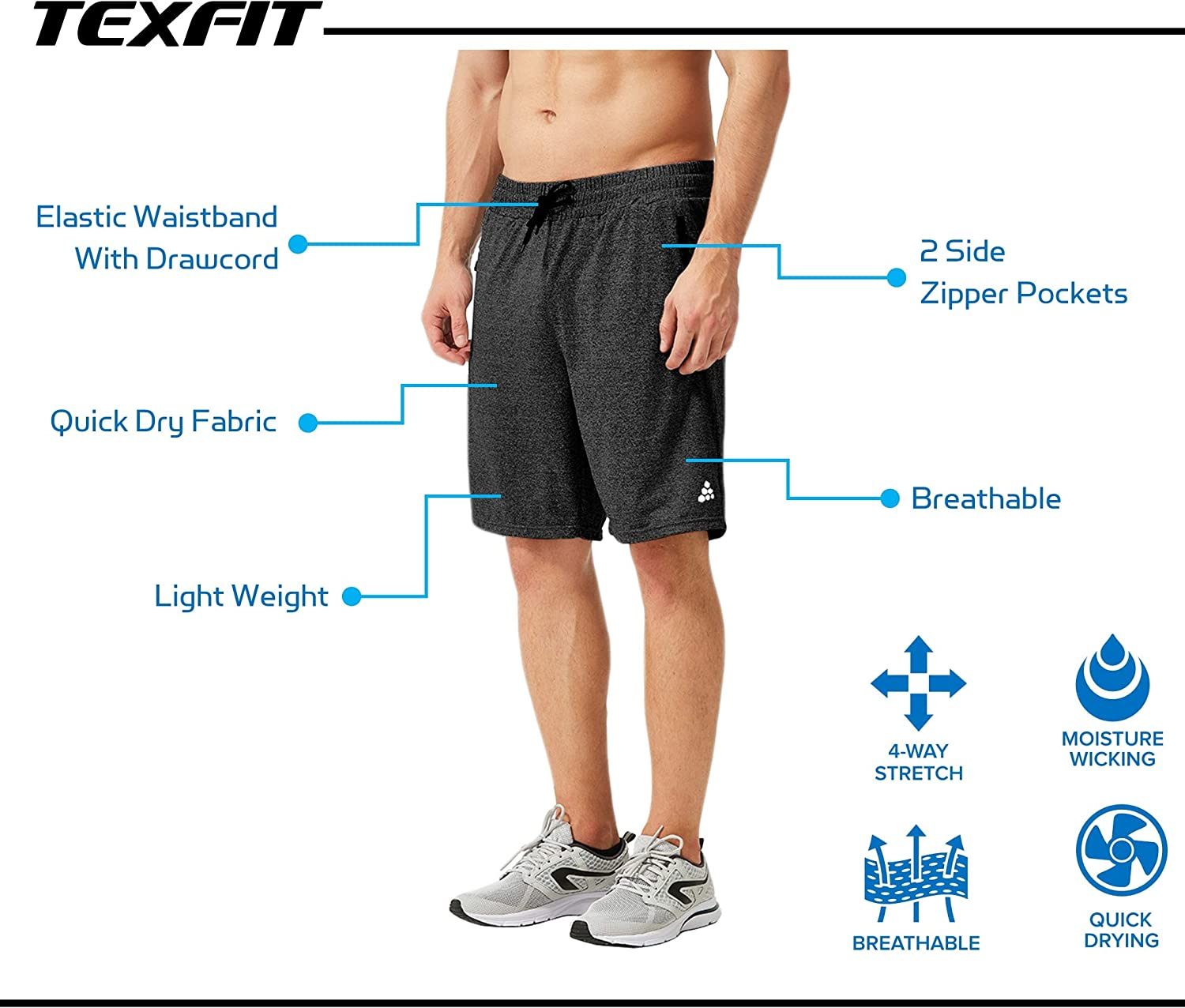 Athletic Shorts with Quick Dry Stretch Fabric 2pcs Set TEXFIT Mens 2-Pack Gym Shorts with Zipper Pockets