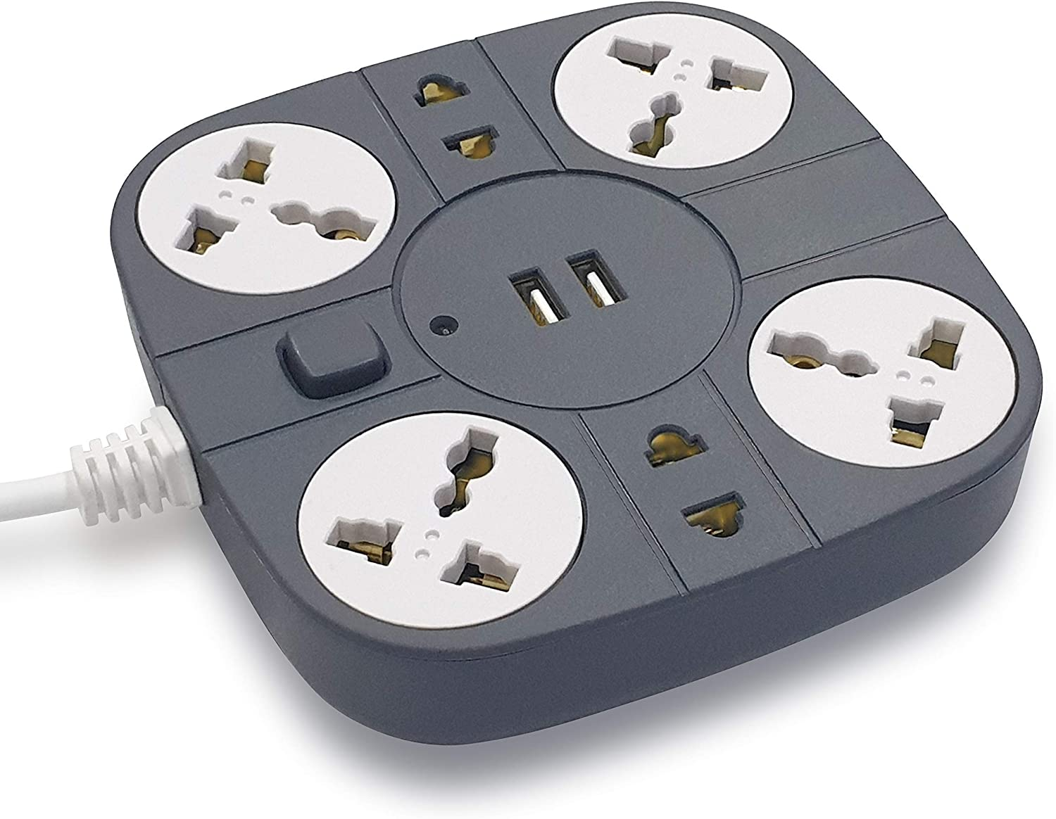 ADD-MAX Extension Cord with 2 USB Port with 6 Sockets