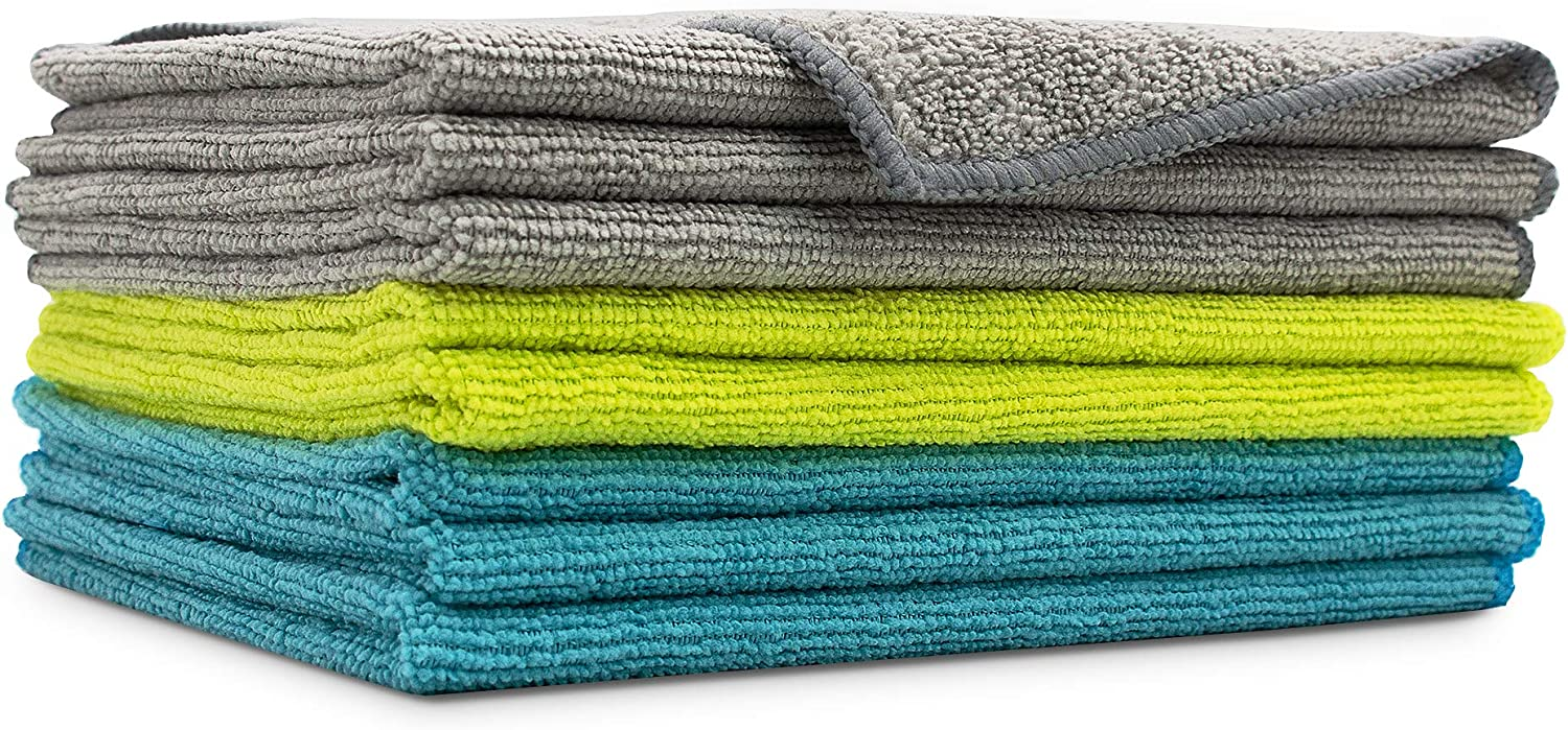 AIDEA Microfiber Cleaning Cloths Softer Highly Absorbent, Lint Free Streak Free for House, Kitchen, Car, Window Gifts(12in.x 16in.)—8PK