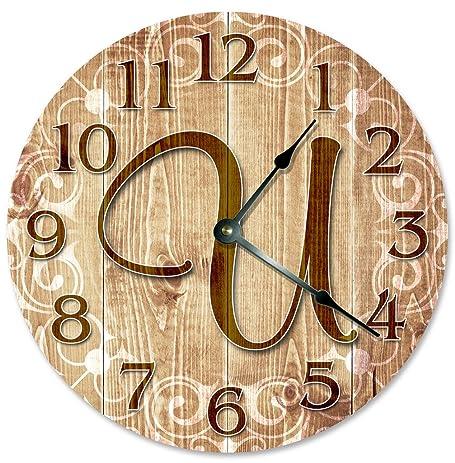 Amazon.com: LETTER U MONOGRAM CLOCK Decorative Round Wall Clock Home ...