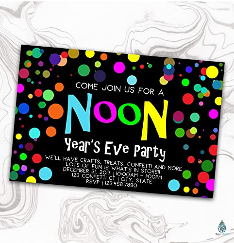 noon years eve party invitation new years kids invite confetti balloon bright