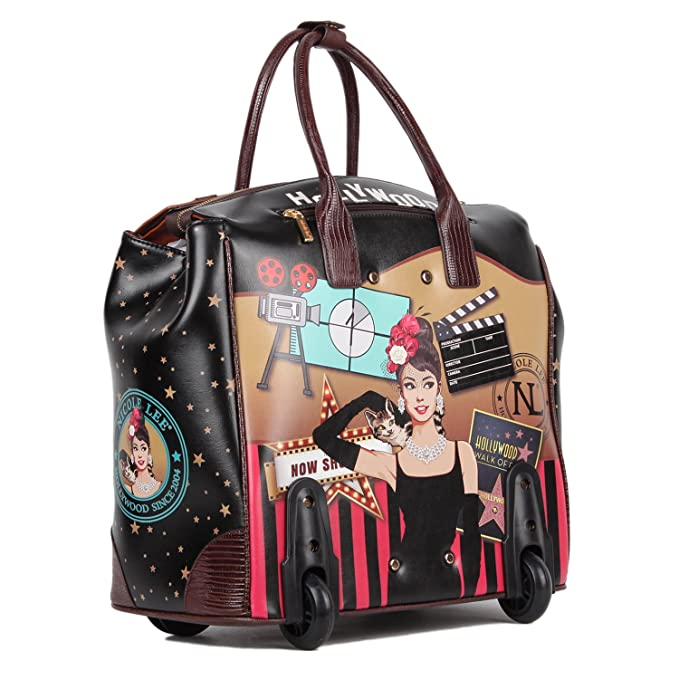 Nicole Lee Womens Exclusive Hollywood Print Rolling Business Tote, Laptop Compartment, Star