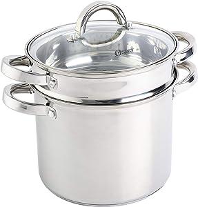 Oster Sangerfield Pasta Pot Set w/Steamer, Basket & Lid Stainless Steel Cookware, 5-Quart