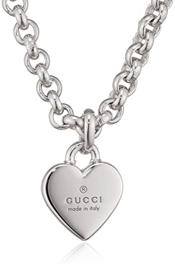 e6088fd14f2 Image Unavailable. Image not available for. Color  Gucci Trademark Necklace  55Cm Heart Pendant Ybb356225001
