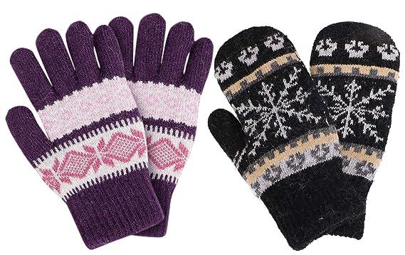 8b062ef84 ThunderCloud 2 Piece Womens' Snowflake Winter Knit Mittens & Gloves ,Black/Purple
