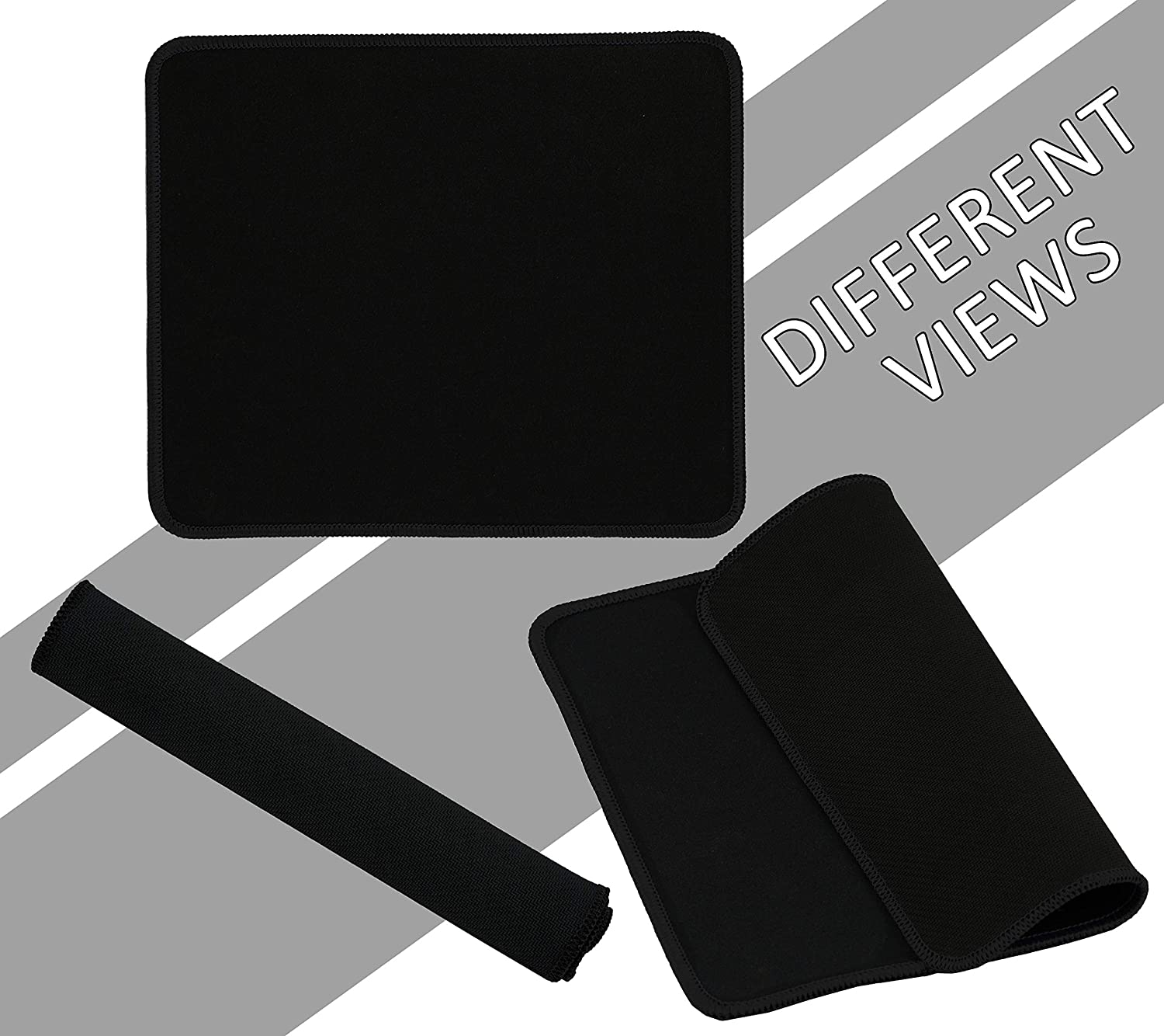 5 Pack Mouse Pad with Stitched Edges Mousepads Bulk Non-Slip Rubber Base Office /& Home - Laptop 250 x 210 x 2mm - Black Border Waterproof Coating Mouse Pads for Computers