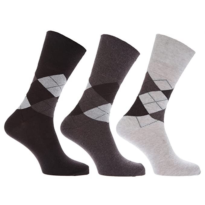 Calcetines de rombos sin elástico con alto porcentaje en algodón hombre/caballero para trabajar/