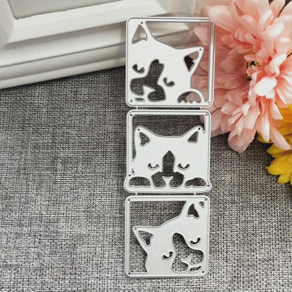 Scrapbooking Embossing Cards Album Art Stencil Silver happyhouse009 Cute Cat New DIY Cutting Dies for Card Making