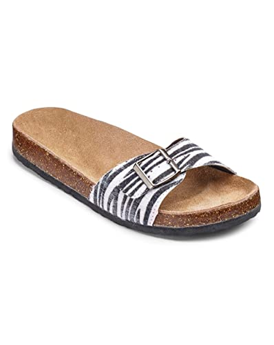 25155fb93e9a Simply Be Womens Sole Diva Buckle Footbed Sandals Animal Print, 4 ...