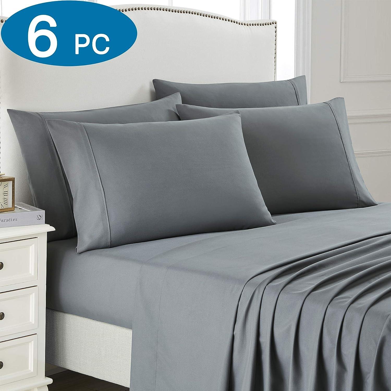 King Bed Sheet Set, 6 PC Super Soft Microfiber Bedding Set, Wrinkle & Fade Resistant Sheet Set, Hotel Quality Fits Mattress Up to 14'' Deep Pocket, Grey