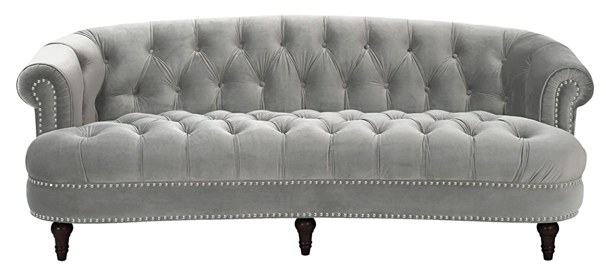 Jennifer Taylor Home La Rosa Collection Chesterfield Style Diamond Tufted Velvet Upholstered Living Room Sofa With Rolled Back, Wooden Legs and Nailhead Trim, Opal Gray