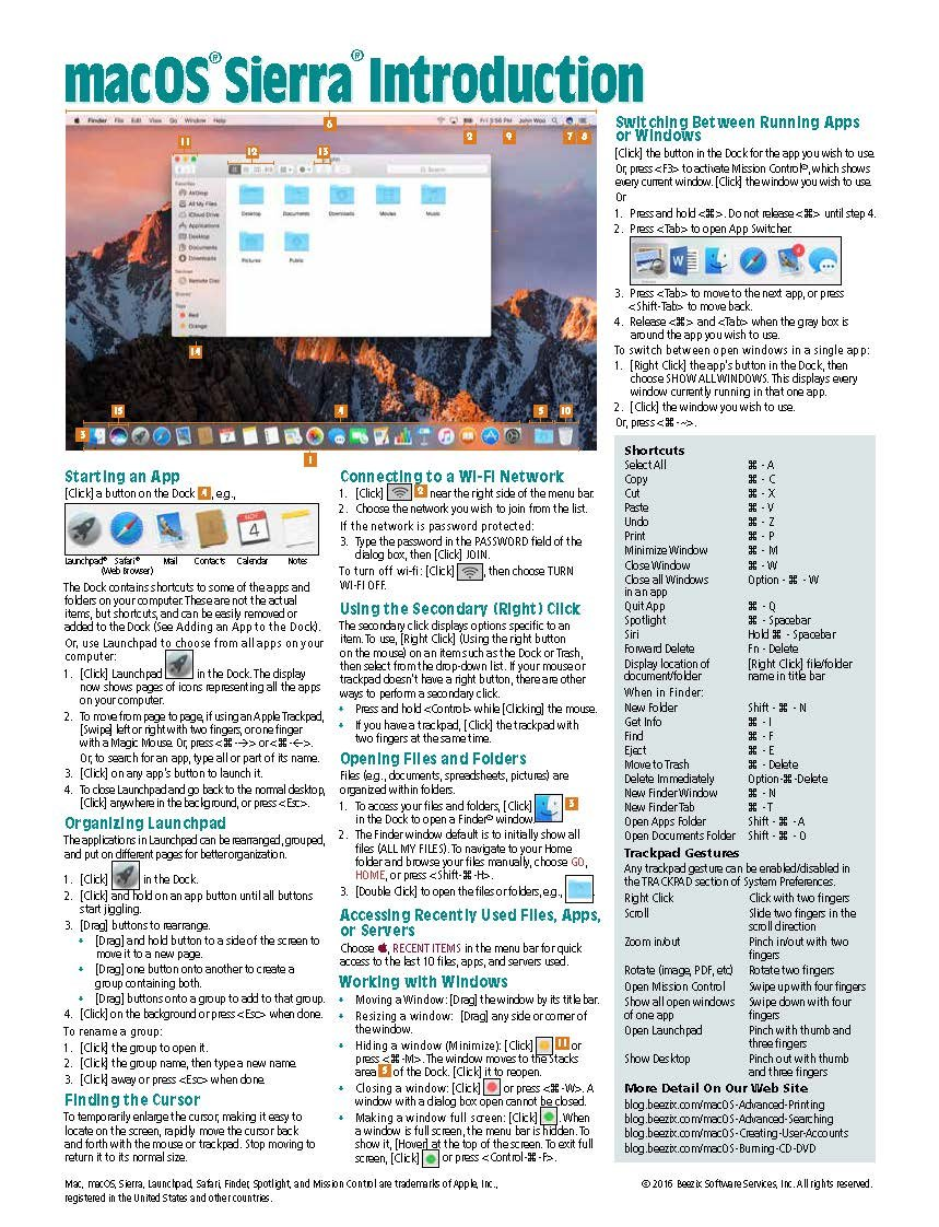 macOS Sierra Introduction Quick Reference Guide (Cheat Sheet of ...