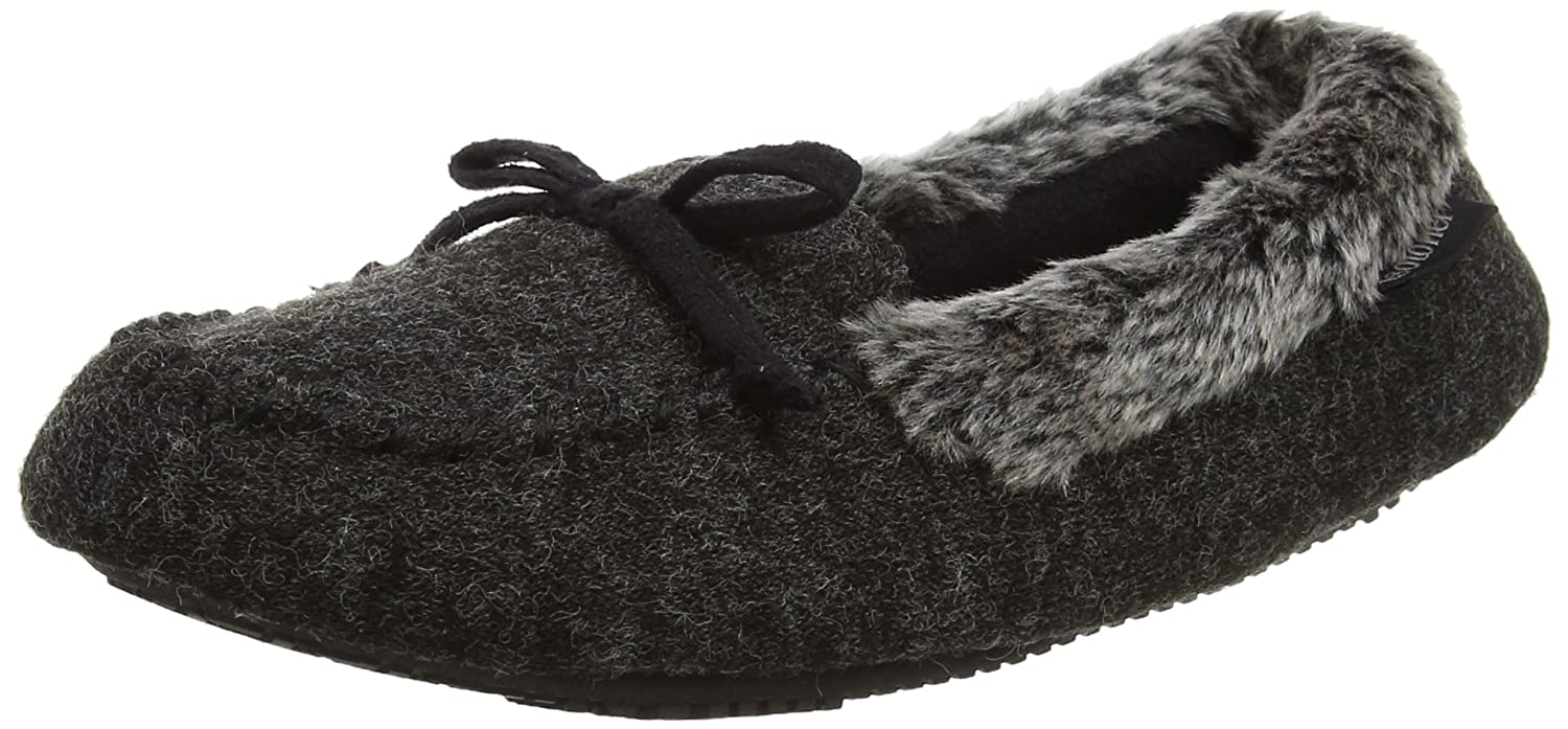 Isotoner Fine Knit Moccasin Slippers, Zapatillas Bajas para Mujer, Negro (Black), 40 EU
