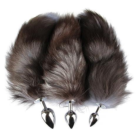 Beauty7 Multi Größen Edelstahl Buttplug Mit Fuchsschwanz(Ø 25/35/42mm), Erotik Fox Tail Analplug Cosplay - - Farbe: Größe: S+