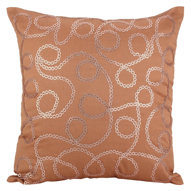 Sequinnedのためのスロー枕カバー、Knottyリング – エレガントなホーム飾り 26x26 inch ブラウン RoseGoldKnottyRings26 26x26 inch ローズゴールド B01N4B04E5