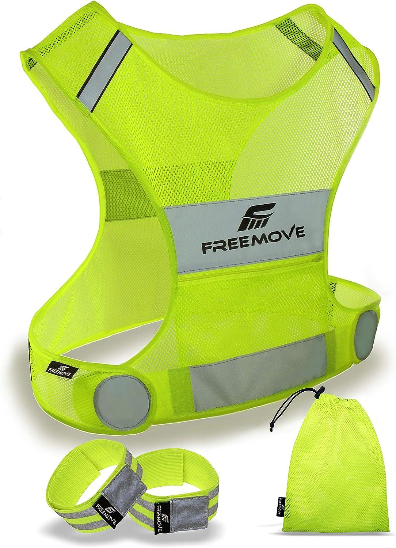 Reflective Vest w//Inside Pocket /& 2 High Visibility Running Safety Bands-Medium