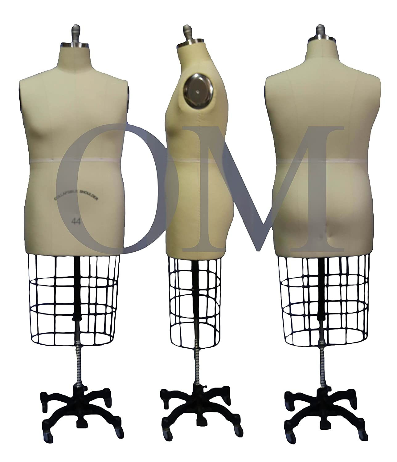 Male Professional Fashion Dressmaker Dress Form Mannequin W/Collapsible Shoulders Size 44 Made By OM (Collapsible Series)