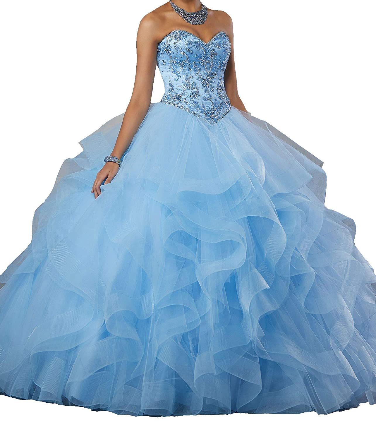 90a4b83098 Dengfeng Women s Sweetheart Beaded Ruffled Lady Party DanceSweet 15  Quinceanera Dresses at Amazon Women s Clothing store