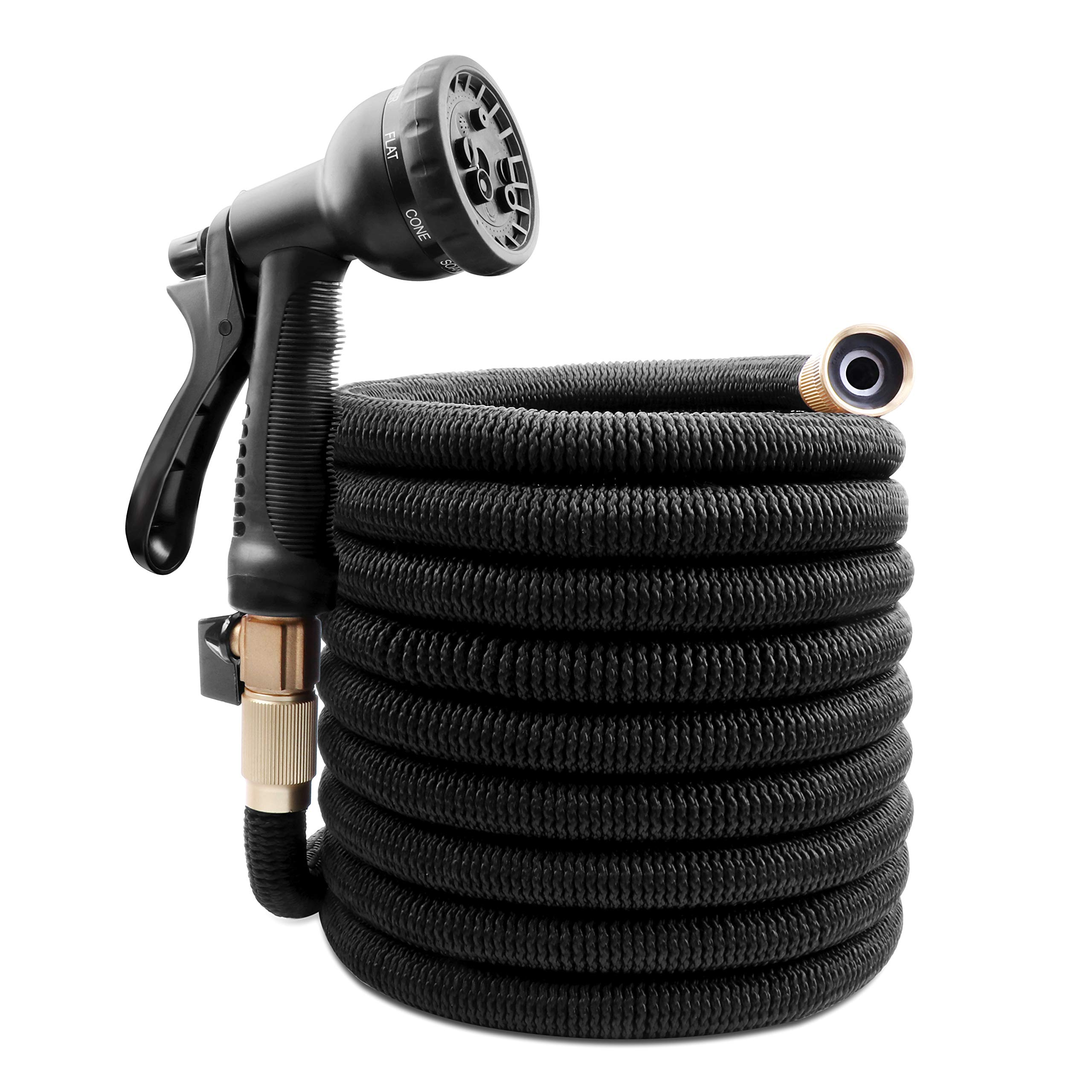 ANYEV Expandable Garden Hose, 50ft Water Hose with Double Latex Core, 3/4'' Solid Brass Fittings, Extra Strength Fabric, 8 Function Spray Included