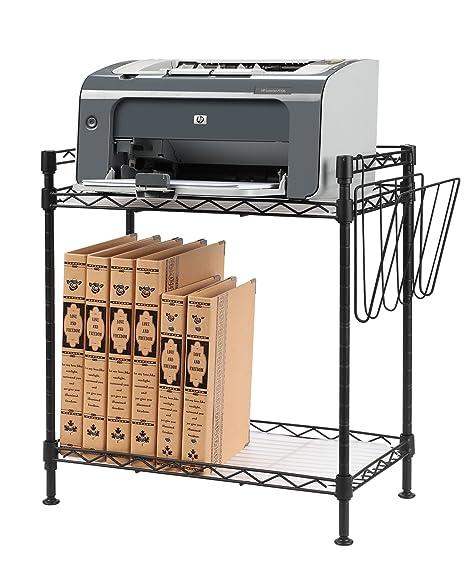 NEUN WELTEN Regulables y Pequeña Soportes para impresoras Mesa Auxiliar - Estantería para Libros con 2 estantes, 3 Ganchos, 1 Divisor de Libros y 1 ...