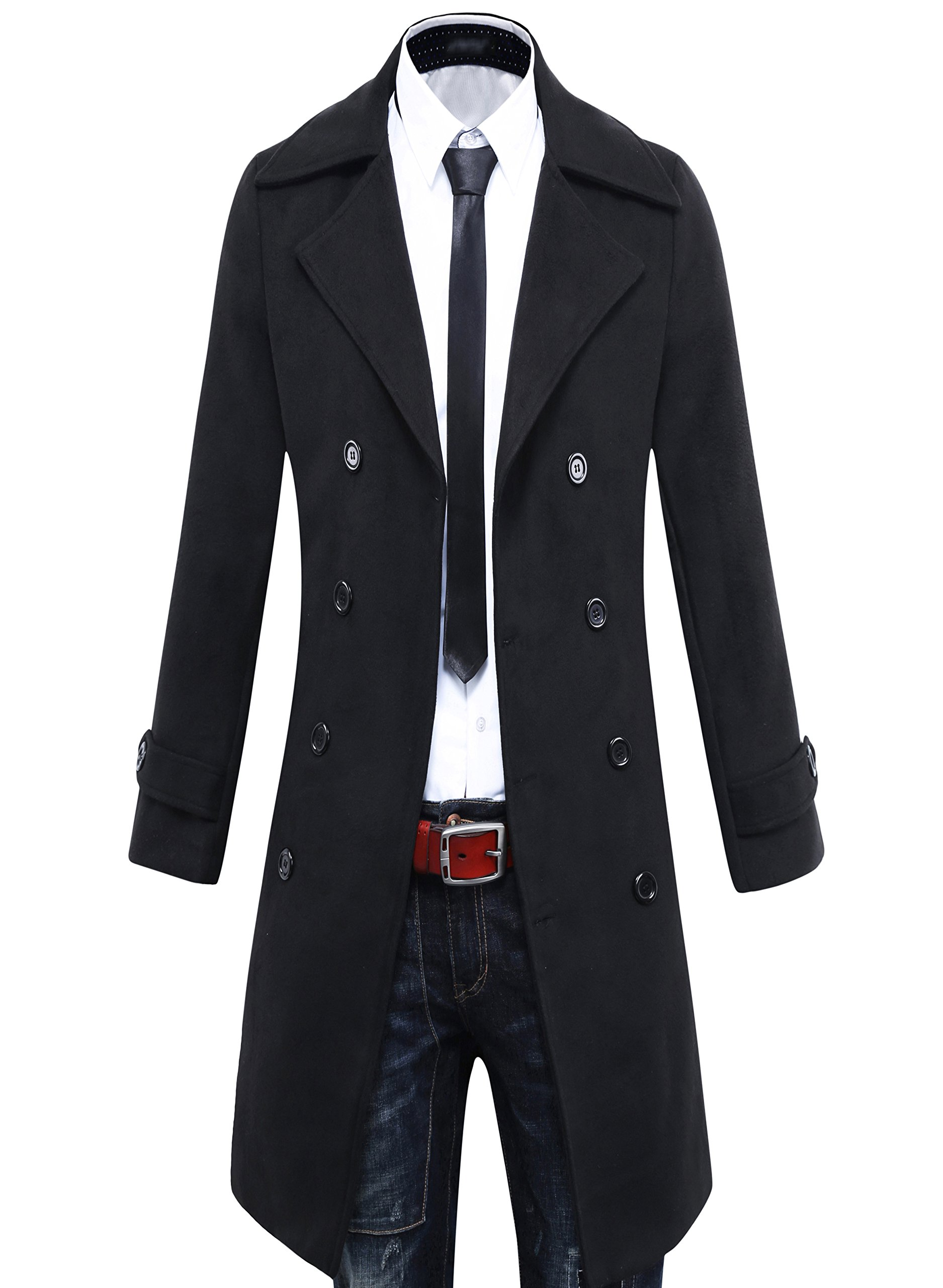 Beninos Men's Trench Coat Winter Long Jacket Double Breasted Overcoat (5625 Black, US:S/Asia L) by Beninos