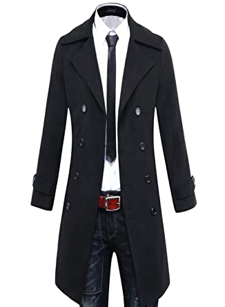 Benibos Men's Trench Coat Winter Long Jacket Double Breasted