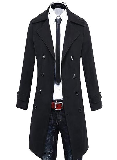 17be0b4b5 Benibos Men's Trench Coat Winter Long Jacket Double Breasted Overcoat